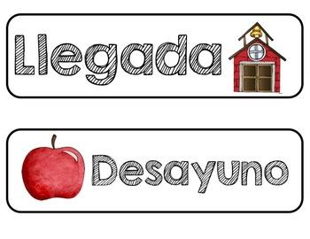 Bright Apple Classroom Decor Set in Spanish