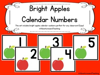 Bright Apples Themed Calendar Numbers