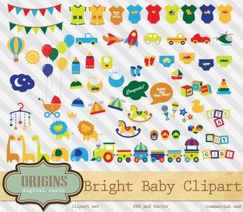 Bright Baby Shower Vector Clipart, Gender Neutral baby gir