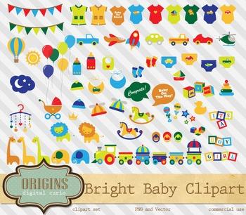 Bright Baby Shower party clipart vectors, vehicles, jungle safari animals