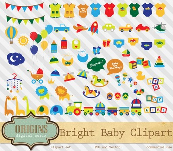 Bright Baby Shower party clipart vectors, vehicles, jungle