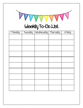 Bright Banner Themed Weekly To DO List
