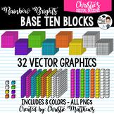 Bright Base Ten Blocks Clipart Set - Digital Math Manipulatives
