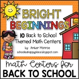 Bright Beginnings {10 Back to School Themed Math Centers}