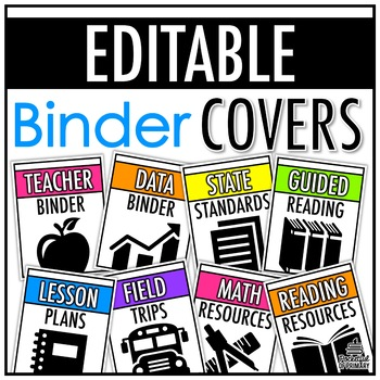 Bright Binder Covers (with Binder Spines) | EDITABLE