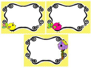 Bright Birdies themed Printable Blank Label Cards. Class Accessories.