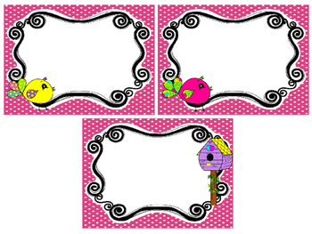 Bright Birdies themed Printable Blank Label Cards. Class A