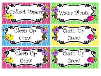 Bright Birdies themed Printable Class Jobs Labels Classroom Bulletin Board Set.