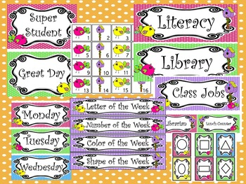 Bright Birdies themed Printable Classroom Accessories and Decor Bulletin Board S