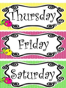 Bright Birdies themed Printable Days of the Week Classroom Bulletin Board Set.