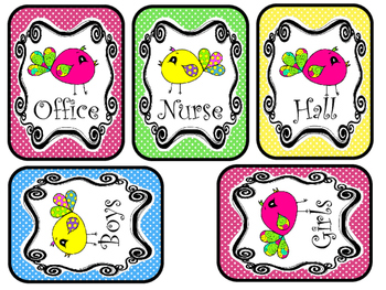 Bright Birdies themed Printable Hall Pass Sign and Hall Passes. Class  Managemen