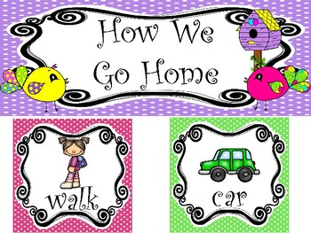 Bright Birdies themed Printable How We Go Home Bulletin Board. Class Management