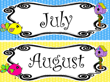 Bright Birdies themed Printable Month Classroom Bulletin Board Set. Class Access