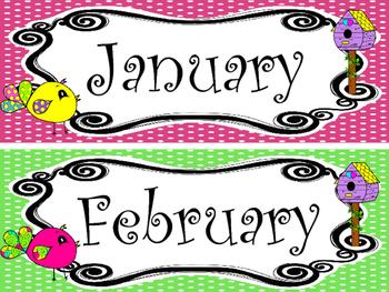 Bright Birdies themed Printable Month Classroom Bulletin B