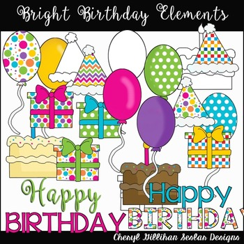 Bright Birthday Elements Clipart Collection