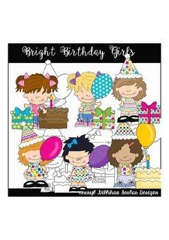 Bright Birthday Girls Clipart