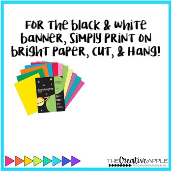 bright black editable banners for the classroom tpt