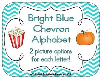 Bright Blue Chevron Alphabet Cards