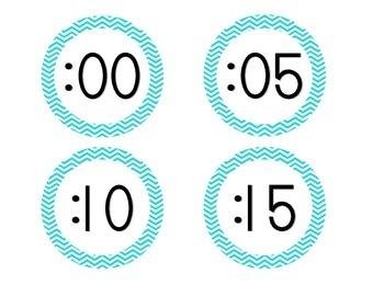 Bright Blue Chevron Clock Numbers