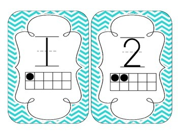 Bright Blue Chevron Number Cards 1-20