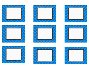 Bright Blue Chevron Number Cards 1-40 4 Styles-with BLANK Cards