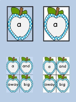 Bright Blue Dot Apple Dolch Pre-Primer Sight Word Flashcards and Posters