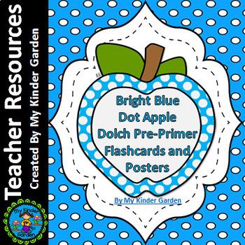 Bright Blue Dot Apple Dolch Pre-Primer Sight Word Flashcar