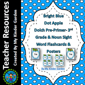 Bright Blue Dot Apple Dolch PrePrimer-3rd Grade Sight Word Flashcards & Posters