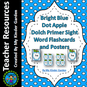 Bright Blue Dot Apple  Dolch Primer Sight Word Flashcards