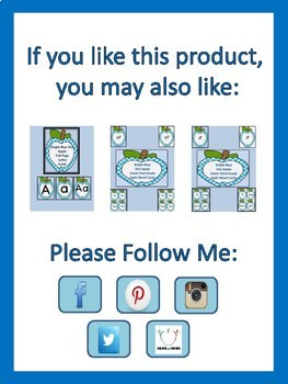 Bright Blue Dot Apple Dolch Second Grade Sight Word Flashcards and Posters