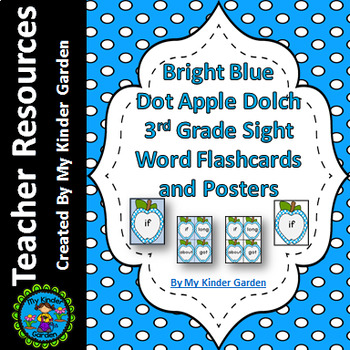 Bright Blue Dot Apple Dolch Third Grade Sight Word Flashcards and Posters