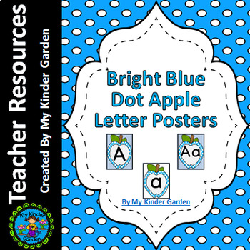 Bright Blue  Dot Apple Alphabet Letter Posters / Word Wall