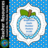 Blue Dot Apple Number Posters Math Full Page Numbers 0-100