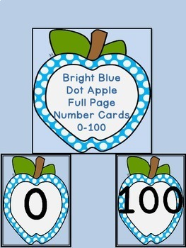 Bright Blue Dot Apple Number Flashcards and Posters Bundle 0-100