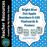 Blue Dot Apple Number Flash Cards and Posters Math Numbers 0-100 Bundle