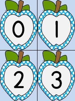 Bright Blue Dot Apple Math Number Flashcards 0-100