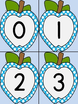 Blue Dot Apple Math Number Flashcards 0-100
