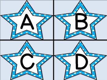 Bright Blue Dot Star Alphabet Letter Flashcards