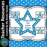 Bright Blue Dot Star Alphabet Letter Posters / Word Wall Letter Labels