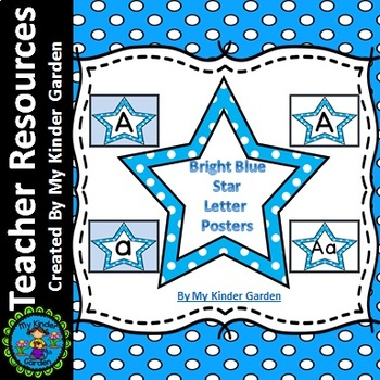 Bright Blue Dot Star Alphabet Letter Posters / Word Wall L