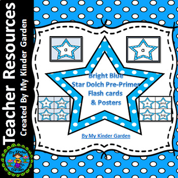 Bright Blue Dot Star  Dolch Pre-Primer Sight Word Flashcards and Posters