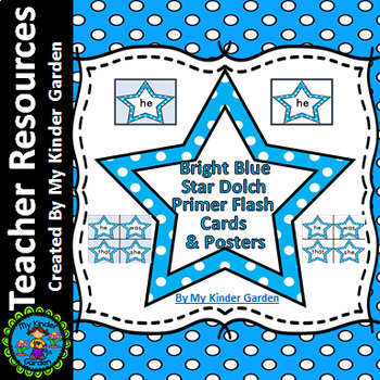 Bright Blue Dot Star  Dolch Primer Sight Word Flashcards and Posters