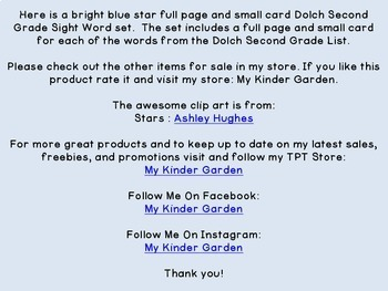 Bright Blue Dot Star Dolch Second Grade Sight Word Flashcards and Posters