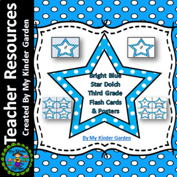Bright Blue Dot Star Dolch Third Grade Sight Word Flashcards and Posters