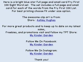 Bright Blue Dot Star  Fry First 100 Sight Word Flashcards and Posters
