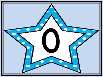 Bright Blue Dot Star Full Page Math Number Posters 0-100