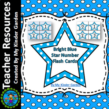 Bright Blue Dot Star Number Flashcards 0-100