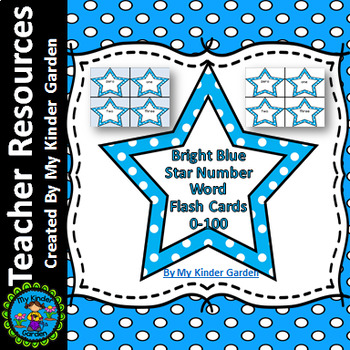Bright Blue Dot Star Number Word Flashcards Zero To One Hundred