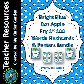Bright Blue Dot Apple  Fry First 100 Sight Word Flashcards and Posters