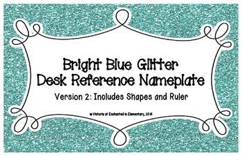 Bright Blue Glitter Desk Reference Nameplates Version 2